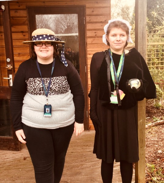 Mia and jess from foundation learning dress up for International Women's Day